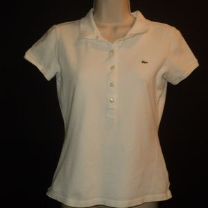 Lacoste Women's Size 38 (6) Small Polo Top White